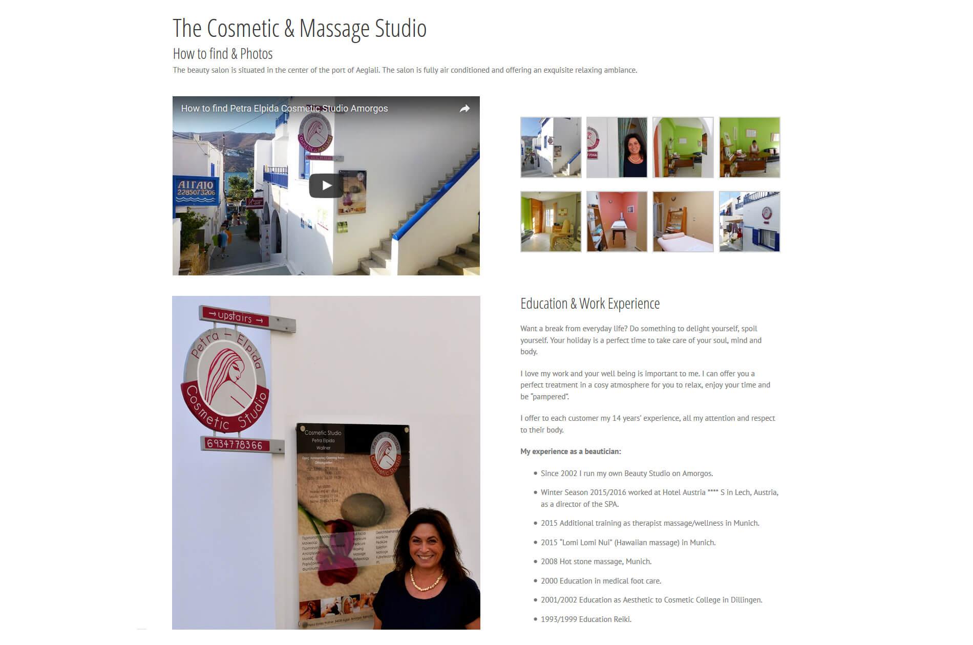 Webbdesign anweb Petra Elpida Cosmetic & Massage Studio Amorgos