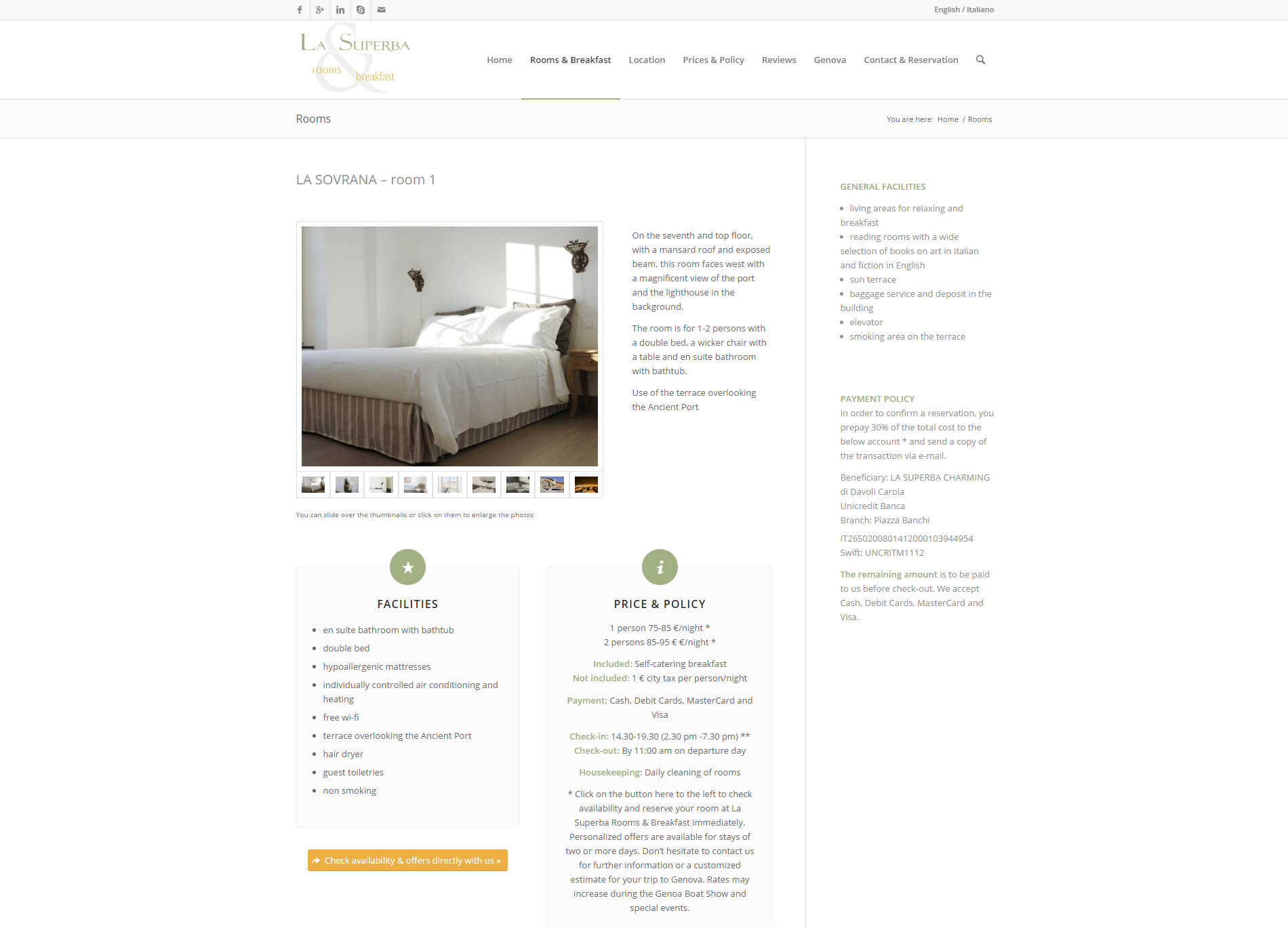 Web design anweb La Superba B&B Genua Italy
