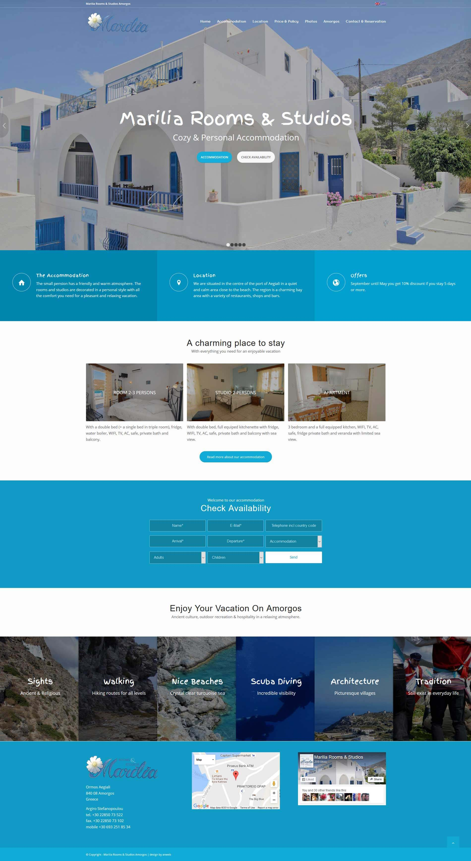 Website Responsive WordPress Marilia Rooms & Studios Amorgos