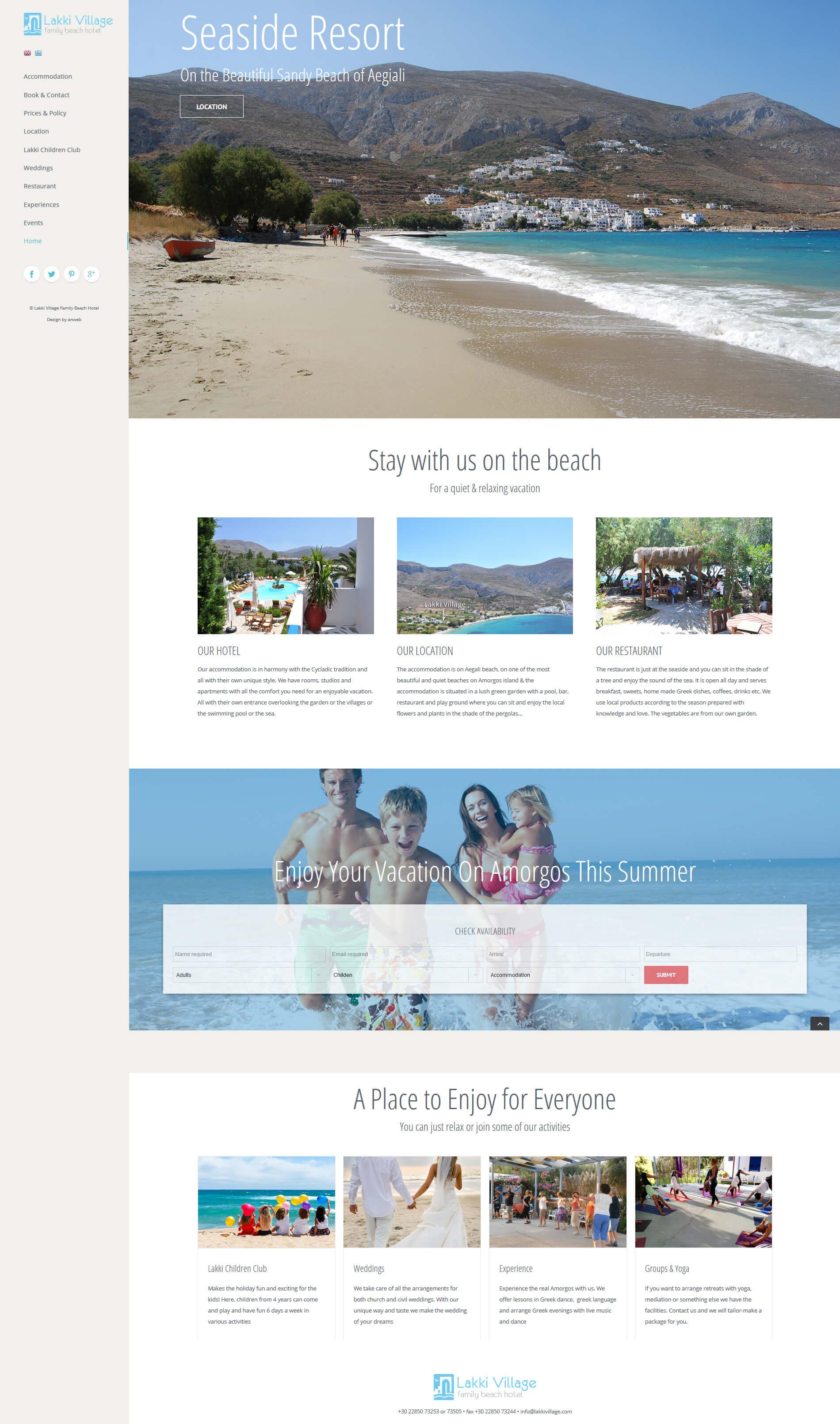Hemsida WordPress anweb Lakki Village Family Beach Hotel