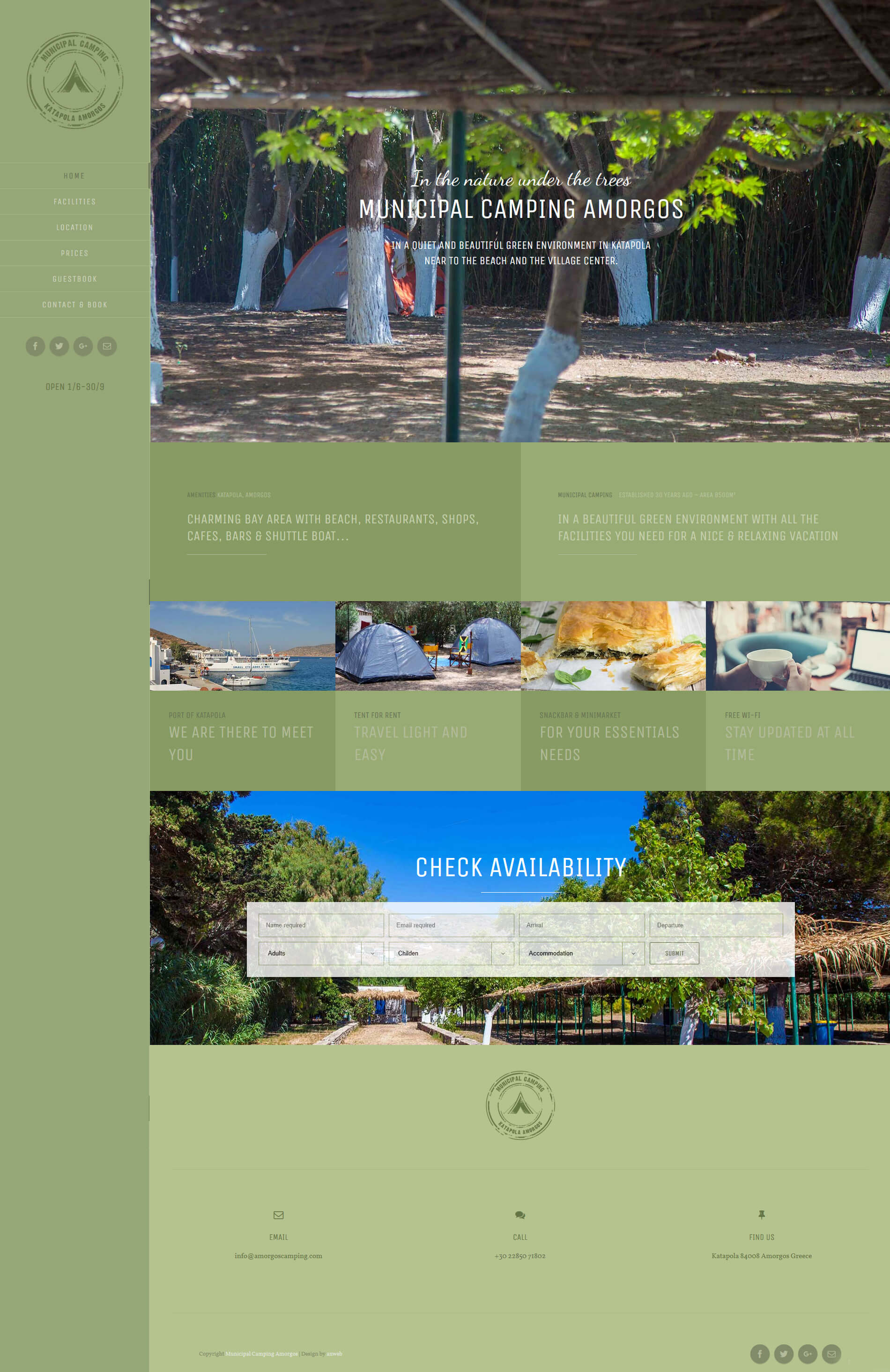 Website WordPress design anweb Municipal Camping Amorgos