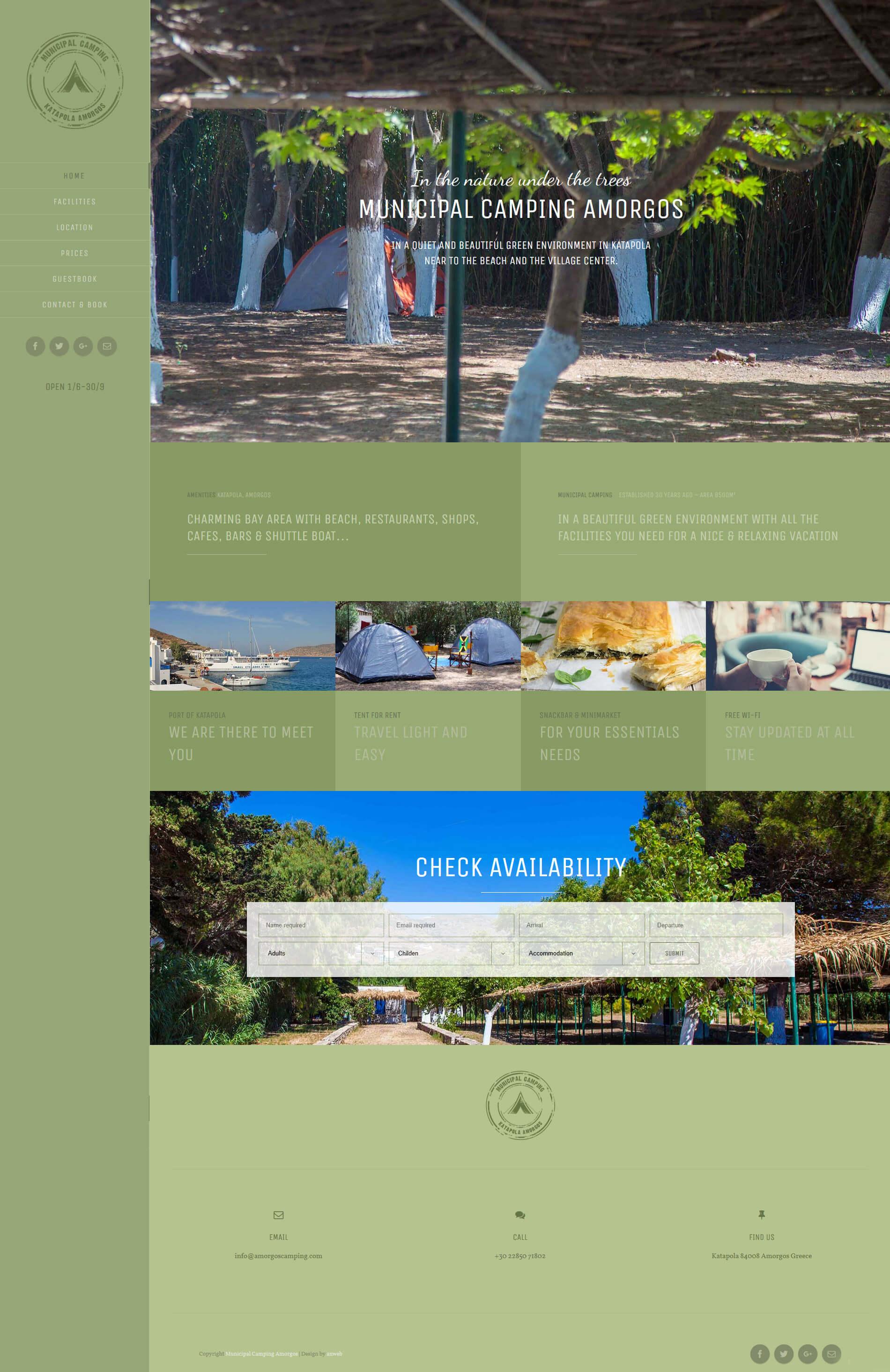 Hemsida WordPress design anweb Kommunal Camping Amorgos