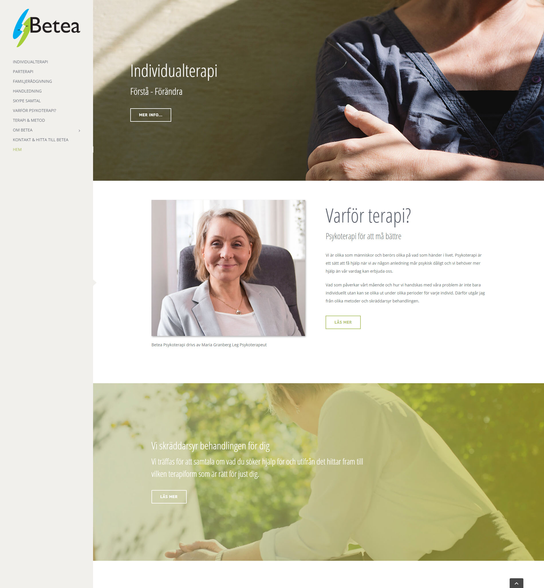 Webbdesign anweb Betea Psykoterapi