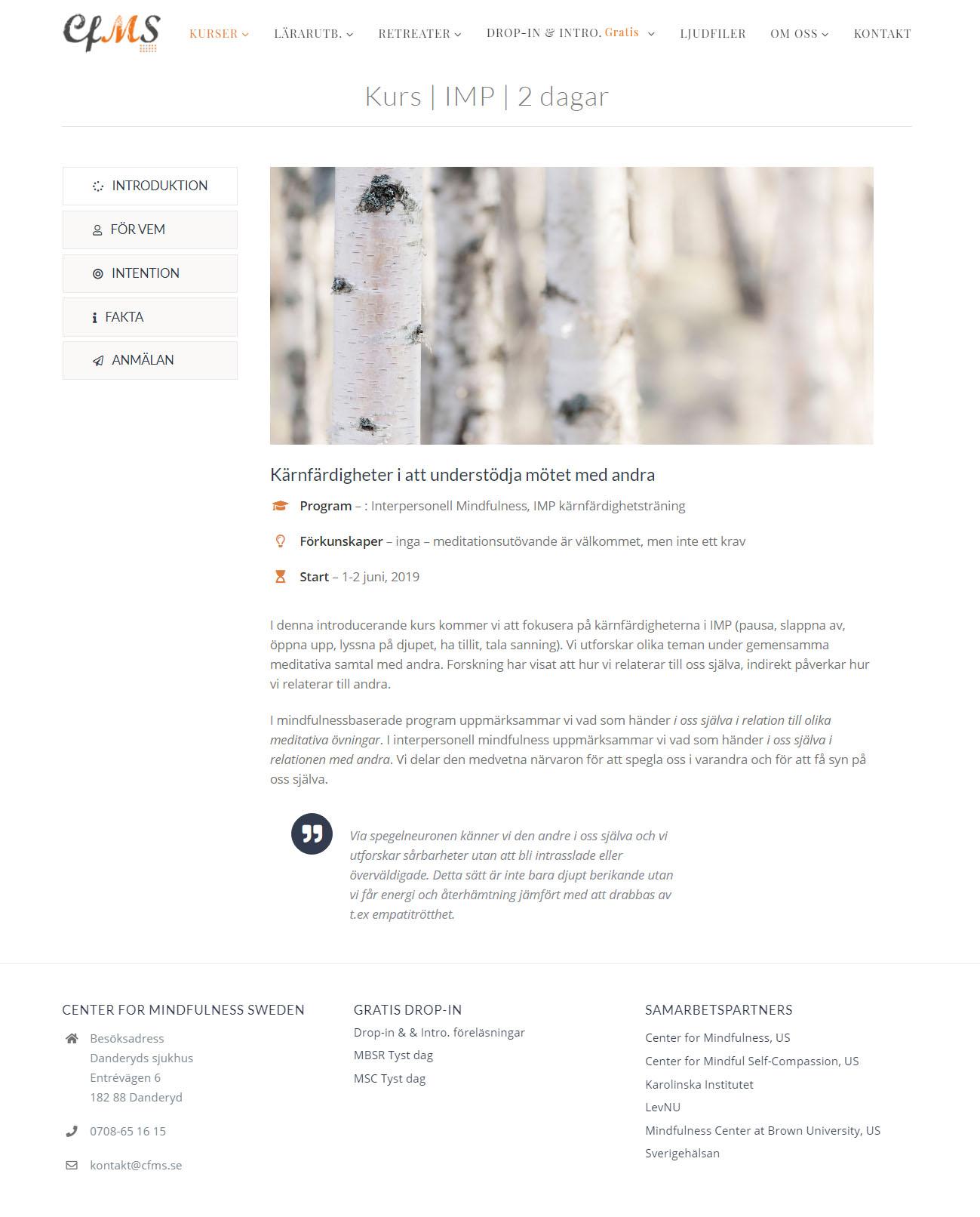 Web Design Anweb Center for Mindfulness Sweden