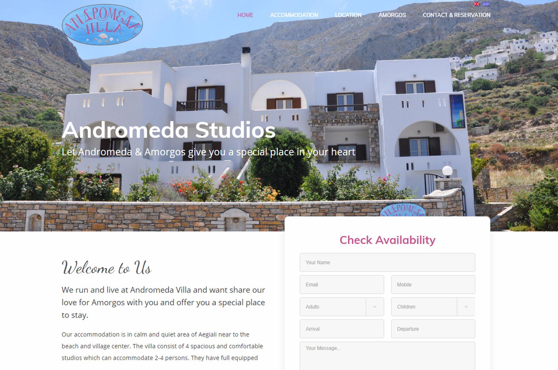 Andromeda Studios Amorgos Web Design