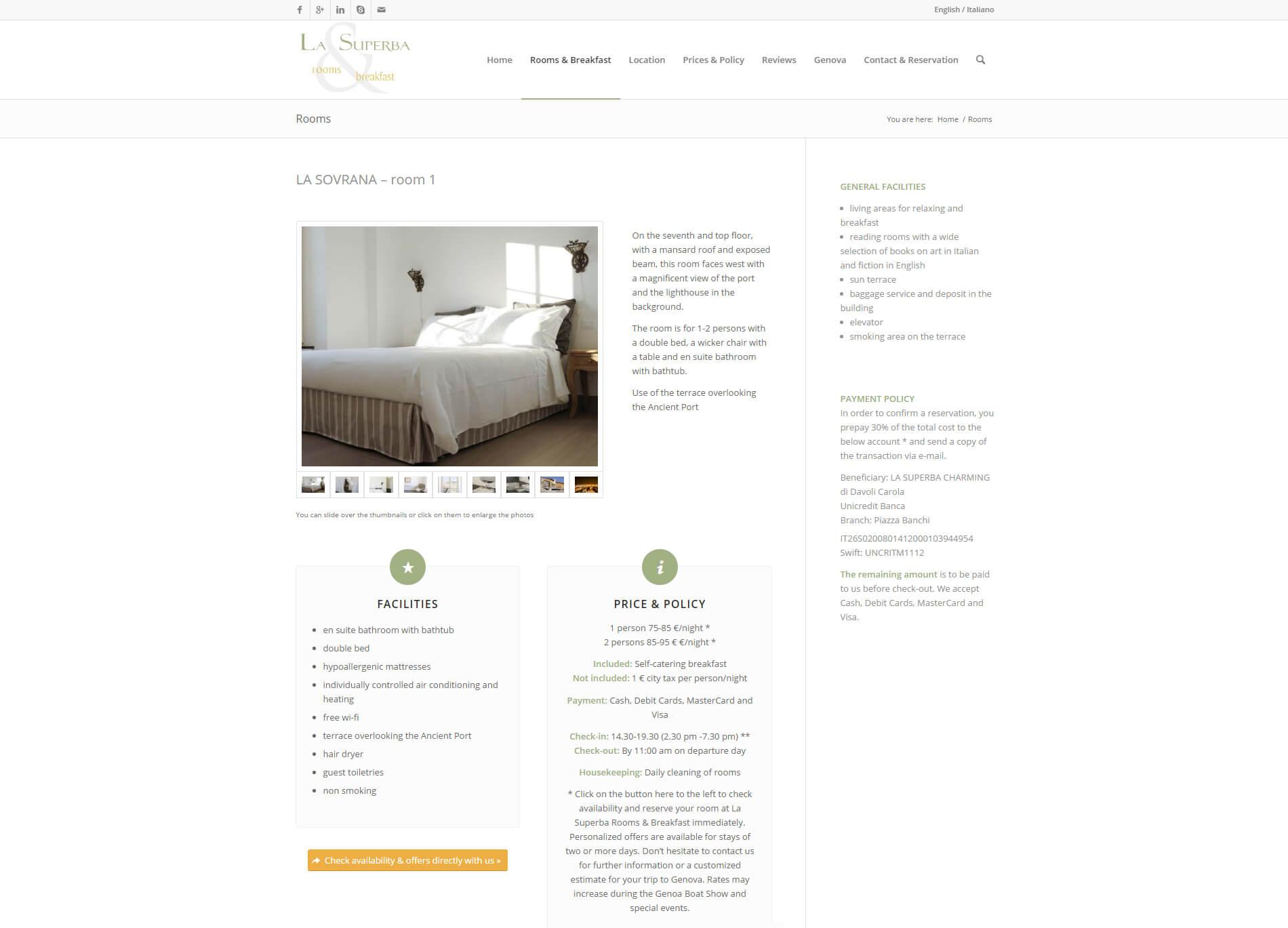 Web design anweb La Superba B&B Genua Italy