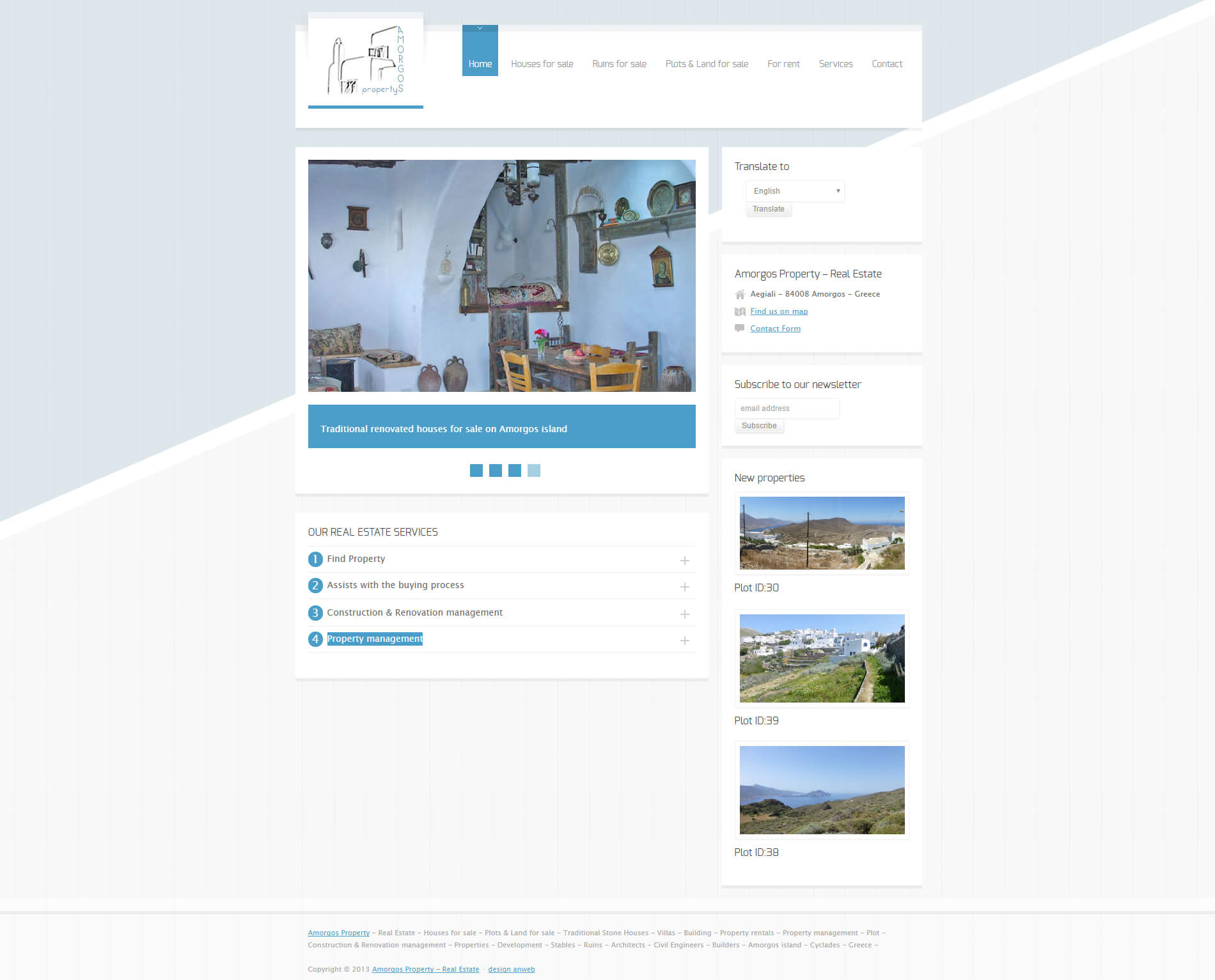 Hemsida Responsiv WordPress Amorgos Property Fastighetsbyrå