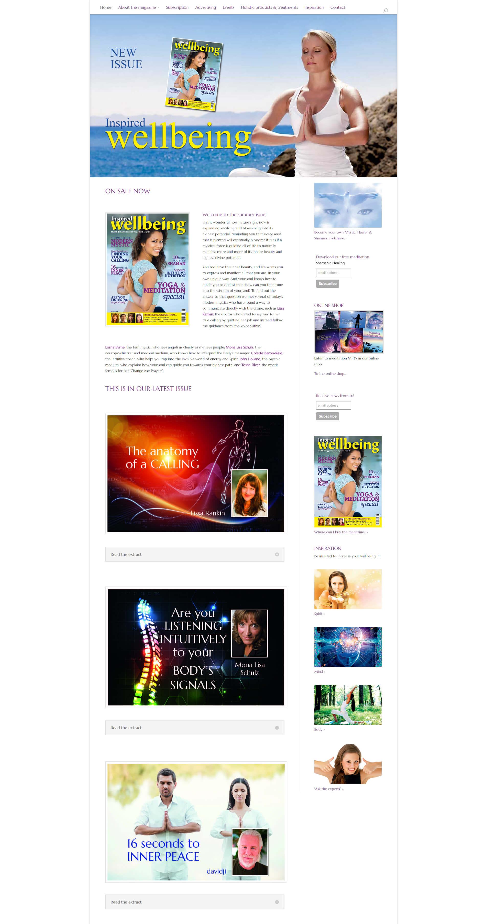 Hemsida Responsiv WordPress Inspired Wellbeing Magazine