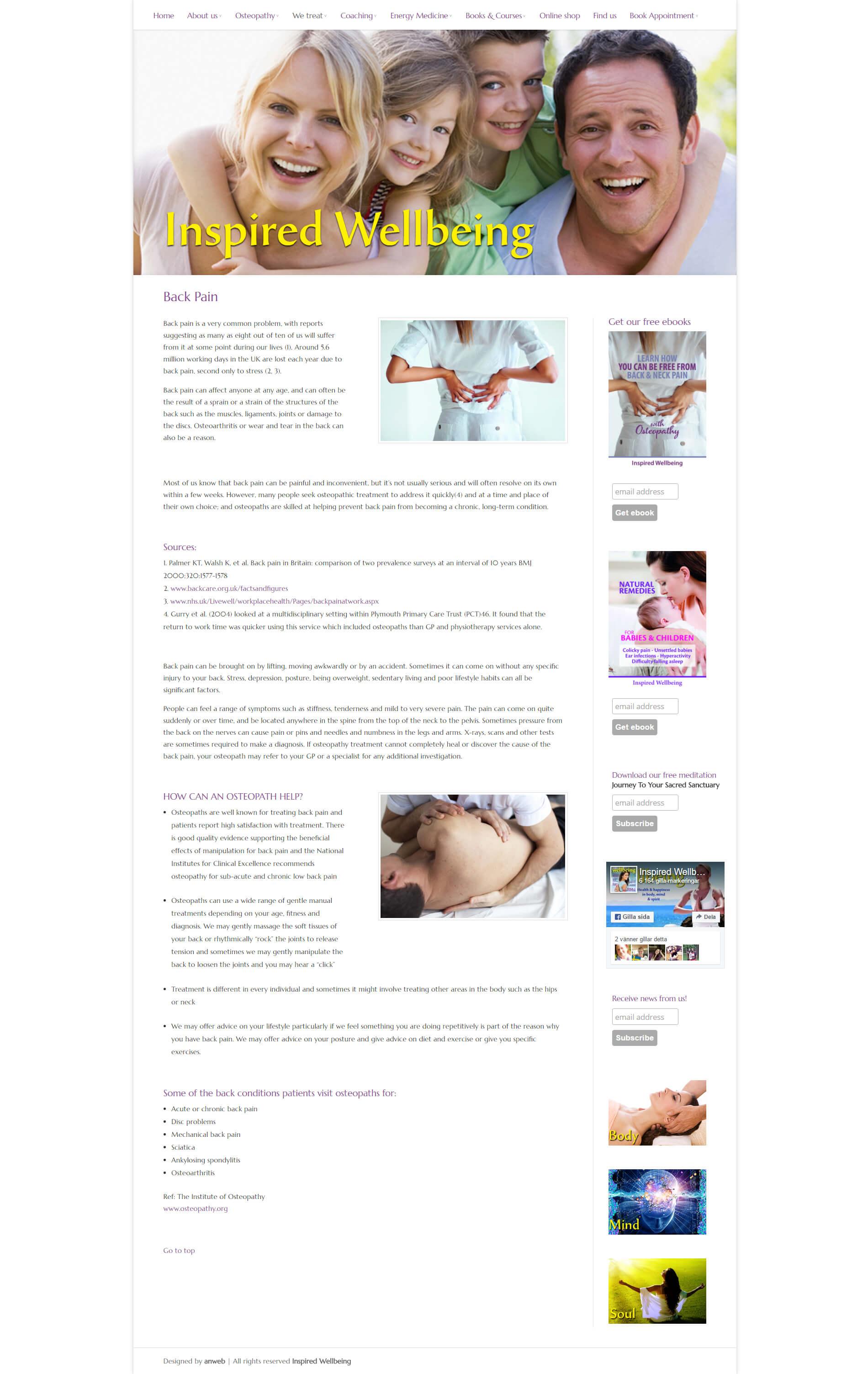 Hemsida Responsiv WordPress Inspired Wellbeing