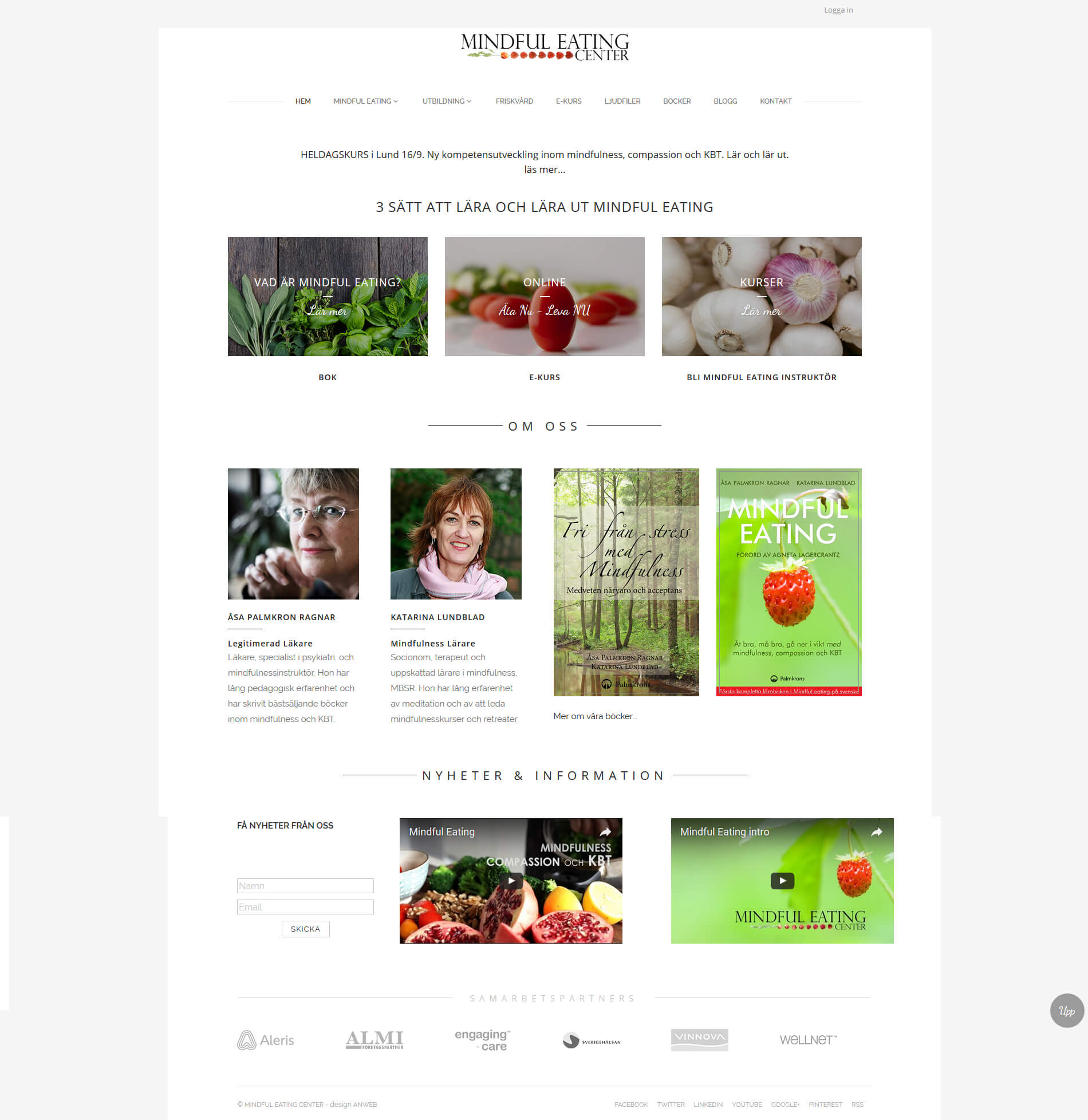 Hemsida WordPress Mindful Eating Online utbildning