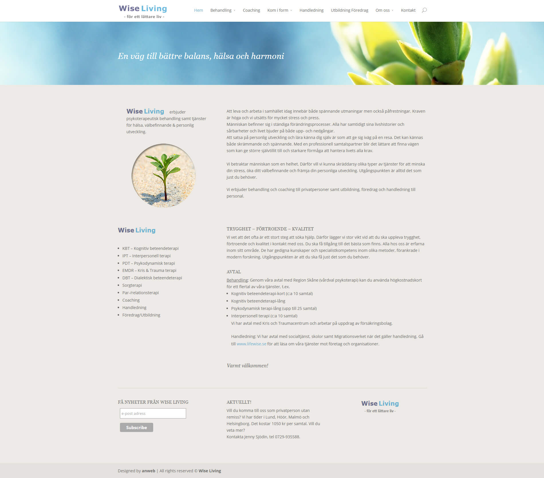 Hemsida WordPress anweb Wise Living Terapi Coaching