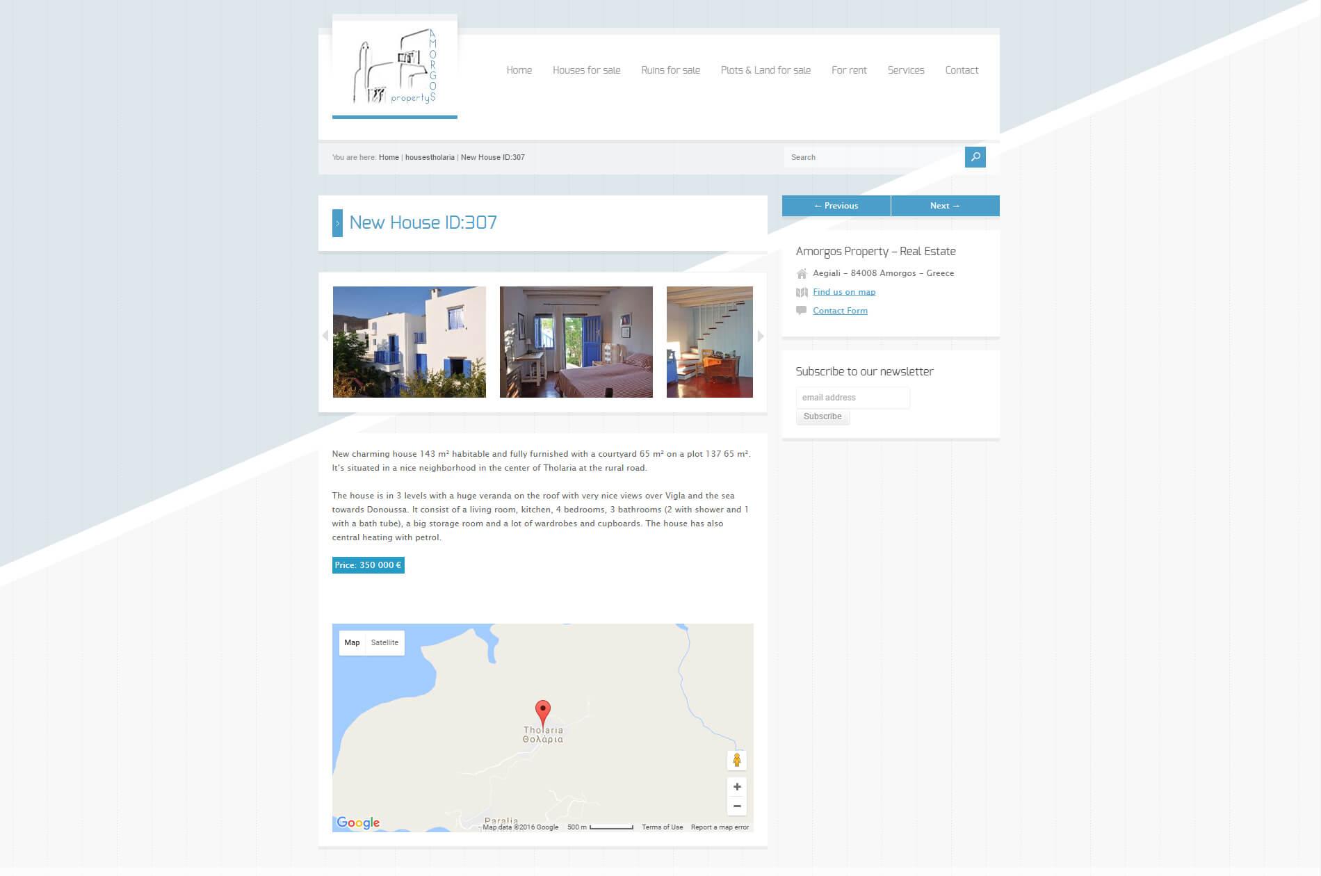 anweb webbdesing Amorgos Property Fastighetsbyrå