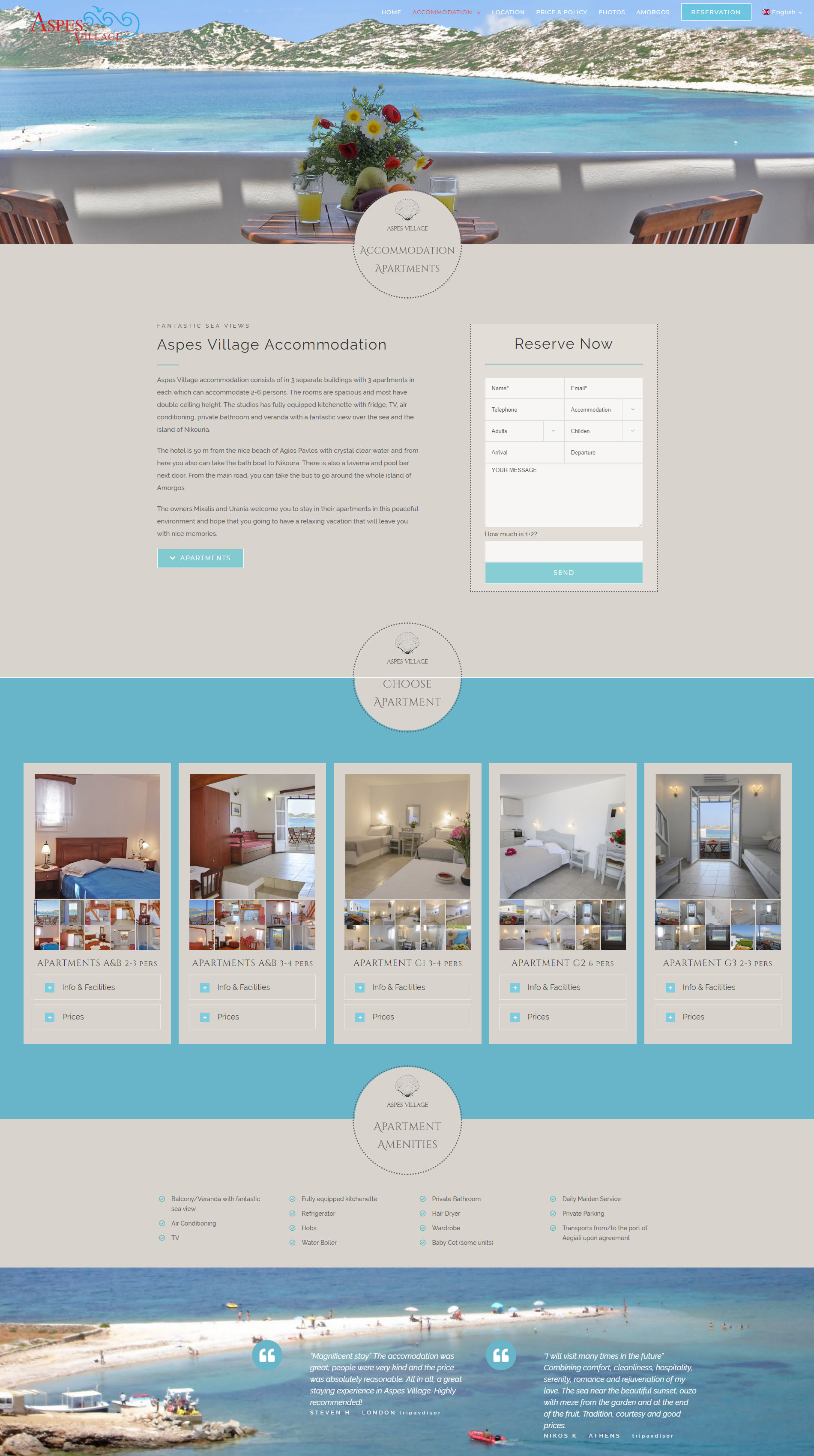 Accommodation Aspes Village Amorgos Website
