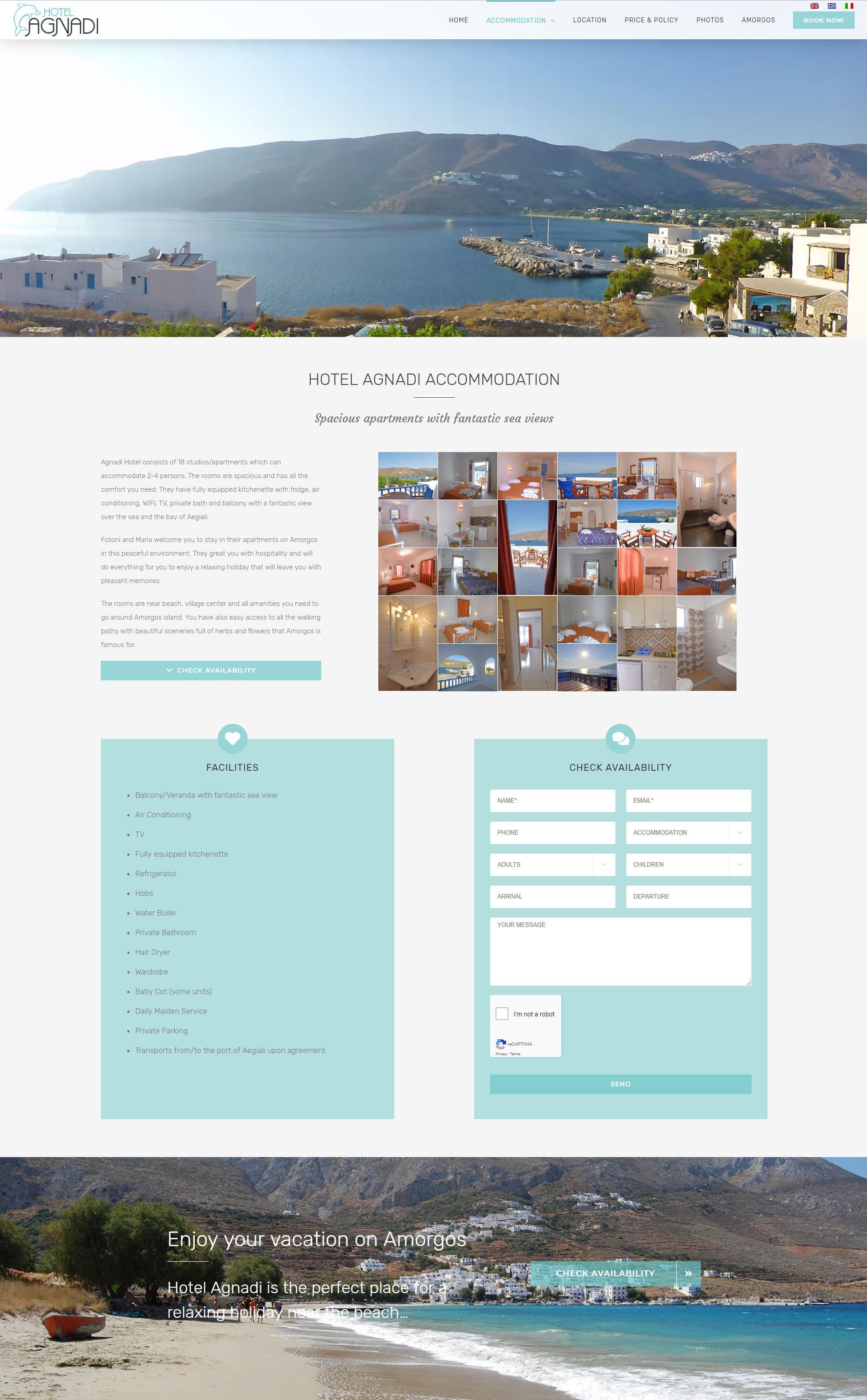 Hotel Agnadi Amorgos Website