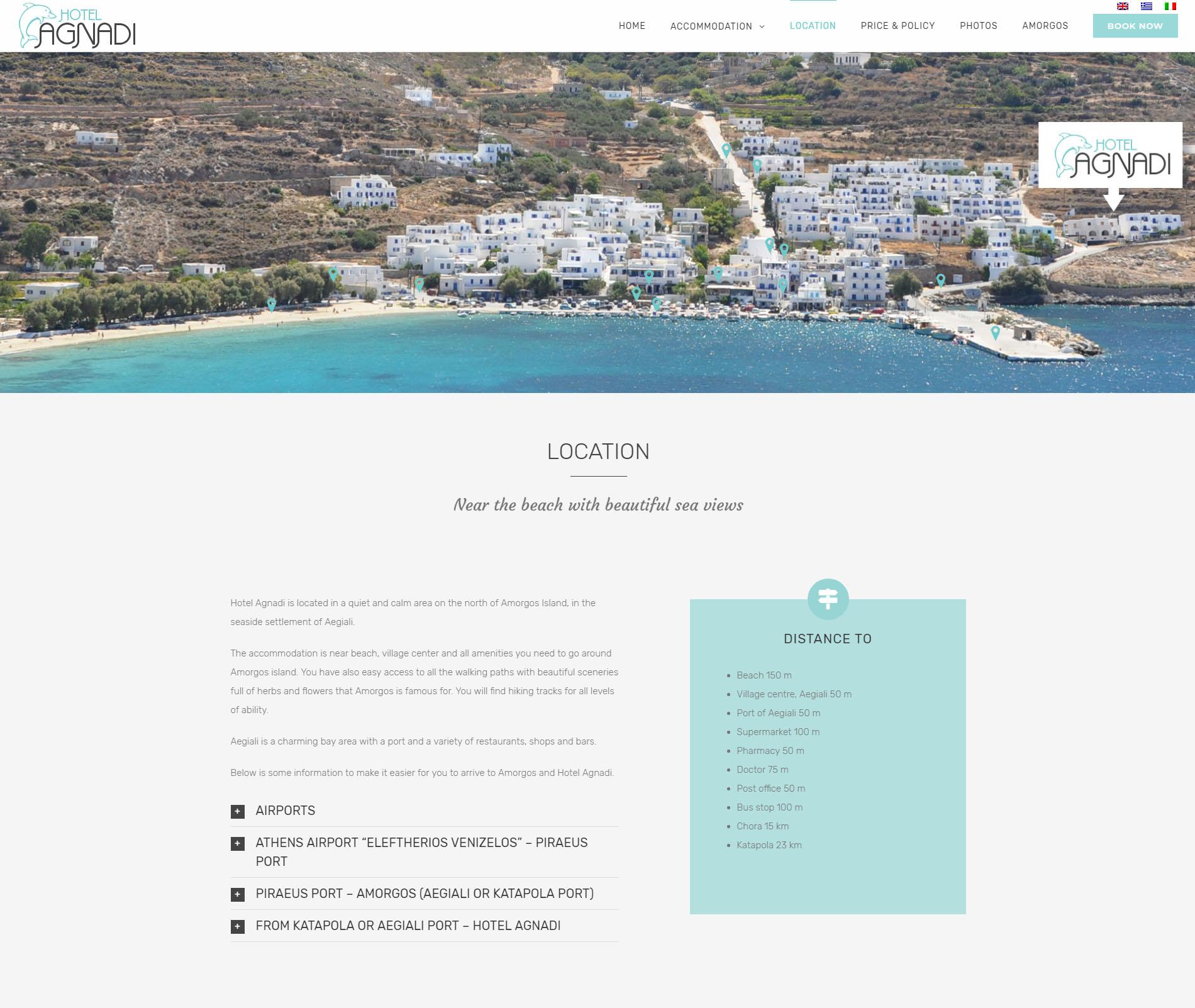Website Hotel Agnadi Amorgos